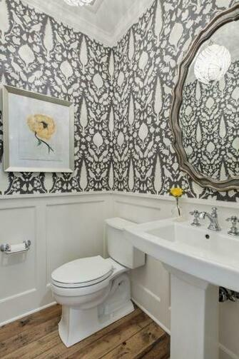 floral wallpaper Powder Room Traditional with wainscoting modern