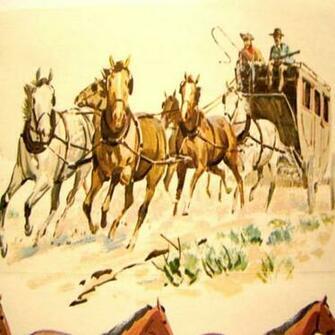 Vintage Wallpaper Western Horse Tack Paper Border Sam Savitt