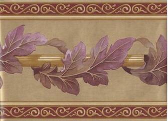 Gold Bordo Leaf Column Molding Wallpaper Border   Victorian