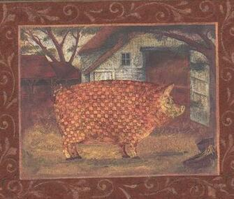 Mosaic Farm Animals Pictures on Red Wall Farmhouse Wallpaper