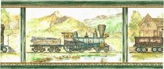 Antique Locomotive Steam Engine Train Scenic Green Wallpaper Border