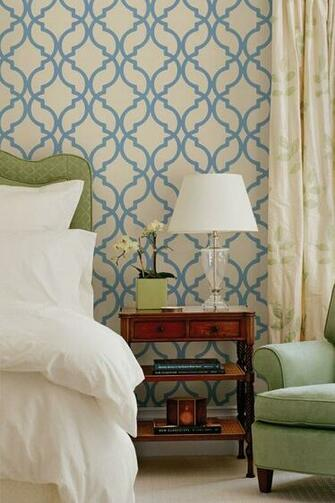 Harira Blue Moroccan Trellis Wallpaper Dreamy Beds Pinterest