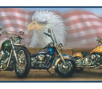 HARLEY DAVIDSON MOTORCYCLE FLAG WALLPAPER WALL BORDER