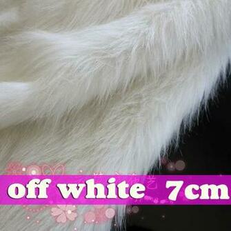 off White SHAGGY FAUX FUR FABRIC LONG PILE FUR displaying background