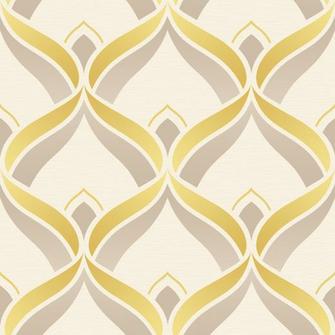 Dettagli su Retr geometrico ART DECO Trellis GIALLO Beige Crema