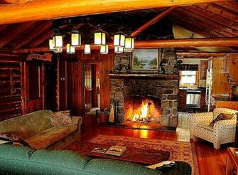 Cozy Log Cabin Winter Wallpaper