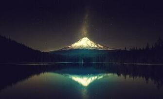 HD wallpaper mount olympus night stars lake forest snow