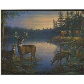 Deer and Cabin In The Woods Wallpaper Border Home