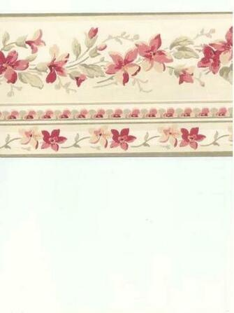 Rose Burgundy Pink Waverly Flower Floral Peach Orange Wallpaper Border