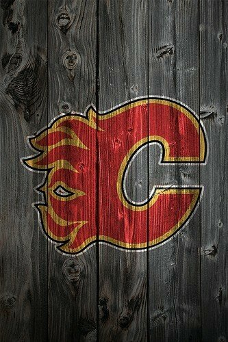 Calgary Flames Wood iPhone 4 Background