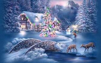 Winter   Christmas Scenery Hd Wallpaper