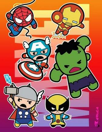 Marvel chibi Super Heroes by aerlixir