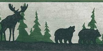 Moose Bear Pine Tree Silhouettes Wallpaper Border Outdoor decor
