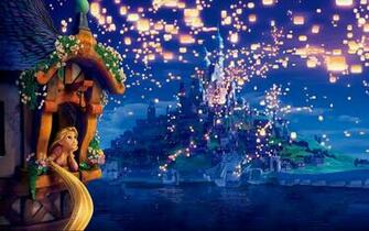 Tangled cartoon movies disney face castle wallpaper background
