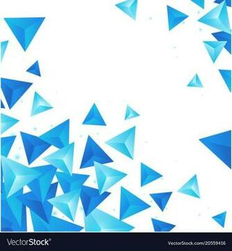 Abstract blue crytal triangle white background vec