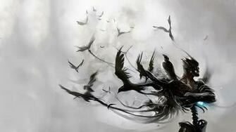 Abstract birds white background Raven wallpaper 1920x1080 312002