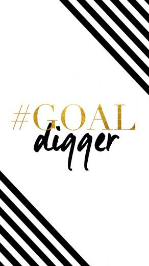 Black white gold stripes Goal digger iphone phone wallpaper