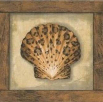 Wallpaper Border Animal Print Sea Shells Leopard Zebra Tiger with Wood