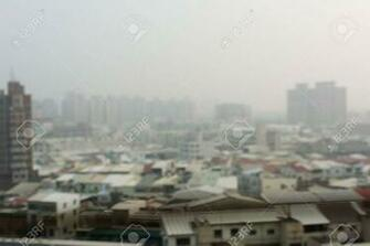 Air Pollution Background With Abstract City Landscape Stock Photo