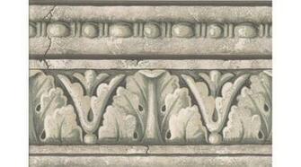 Home Green Grey White Stone Column Molding Wallpaper Border