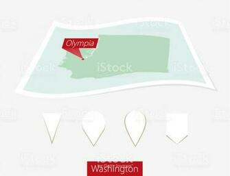 Curved Paper Map Of Washington State With Capital Olympia On Gray