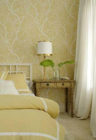 wallpaper in yellow from the Natural Resource collection Thibaut