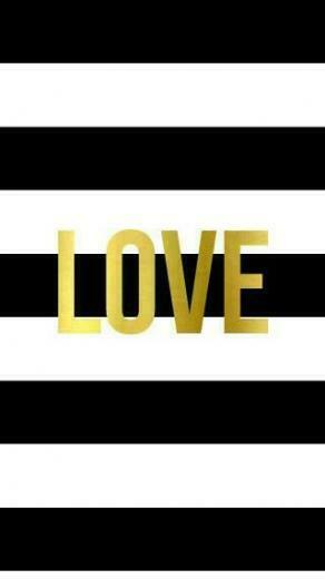 Black White Stripes gold Love iphone wallpaper phone background lock