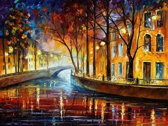 Bridge trees oil leonid afremov wallpaper   ForWallpapercom