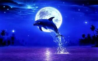Download Dolphin Moon Night Stars Moonlight Leap Blue Wallpaper