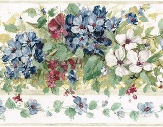 Blue Burgundy Hydrangea Flower Floral Green Leaf Brush Stroke Wall