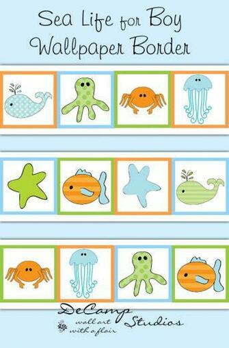 Sea Life Ocean Animals Wallpaper Border Wall Decals Boy Nautical [575