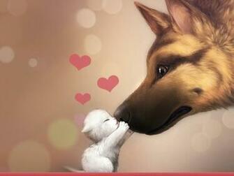 Valentines Day Dog Cat Love HD wallpaper 1920x1080 Valentines Day