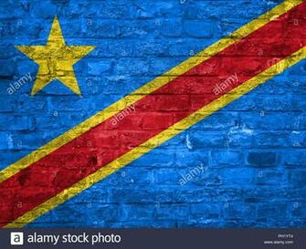 Flag of Democratic republic of Congo over an old brick wall