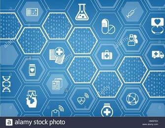 Electronic e healthcare blue vector background with hexagonal