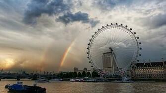 Rainbows Near London Eye View HD Wallpapers