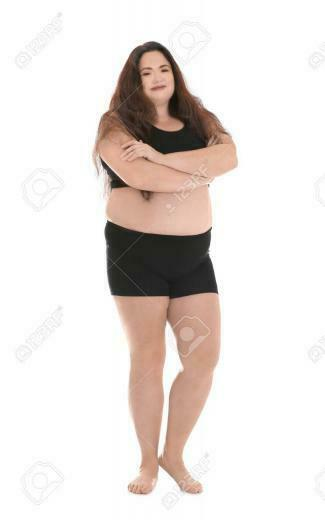 Overweight Woman In Underwear On White Background Stock Photo