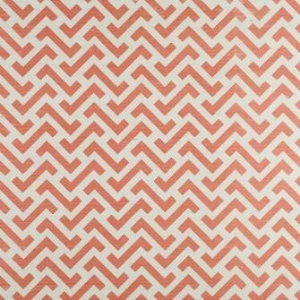Block Zig Zag on Grasscoth  Salmon Pink Bernard Thorp Fabric and