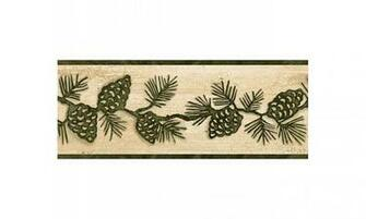 Home Beige and Green Lodge Pinecones Wallpaper Border