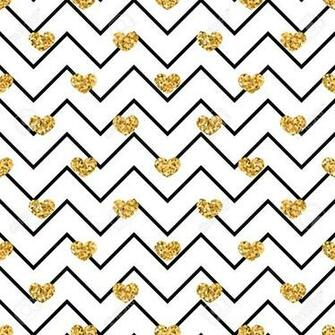 Gold Heart Seamless Pattern Black white Geometric Zigzag Golden