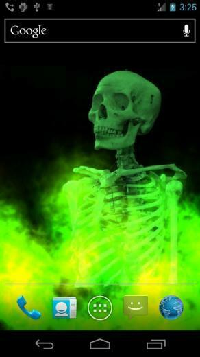 skull burning in fire live wallpaper watch and control fire