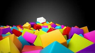 Download 1366x768 Cool 3D Colorful Cubes Wallpaper