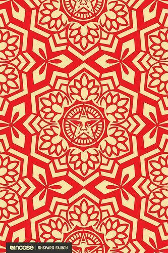 Shepard Fairey Yen Pattern Red Flickr   Photo Sharing