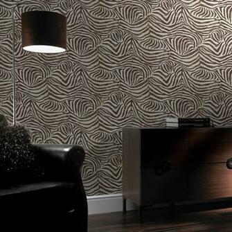 Brown Zebra Print Animal Faux Fur Pattern Textured Wallpaper 32 636