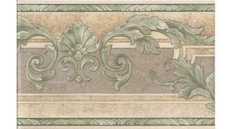 Home Cream Green Molding Leaves Wallpaper Border