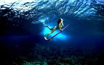 Surf Board under the Water widescreen wallpaper Wide WallpapersNET