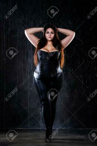 Plus Size Fashion Model In Sexy Clothes Fat Woman On Black