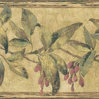 Burgundy Berry Floral Border Wallpaper eBay