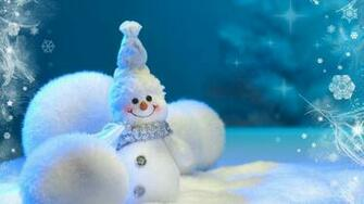 Cute Blue Snowman 2048 x 1152 Download Close