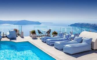 Hotel in Santorini HD wallpaper