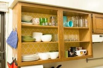 Ideas For Your Kitchen   Remove cabinet doors and wallpaper